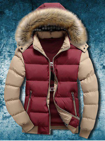 Detachable Faux Fur Hood Zip Up Two Tone Quilted Jacket - Red - M