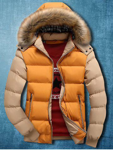 Detachable Faux Fur Hood Zip Up Two Tone Quilted Jacket - Yellow - M