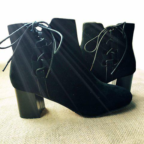 Sale Lace-Up Hollow Out Chunky Heel Boots