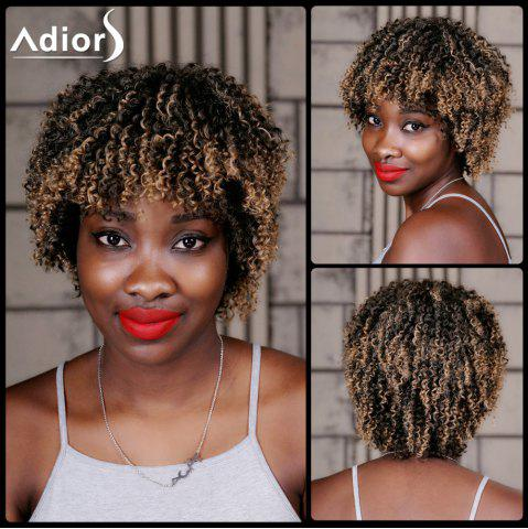 Cheap Adiors Short Highlight Full Bang Curly Synthetic Wig COLORMIX