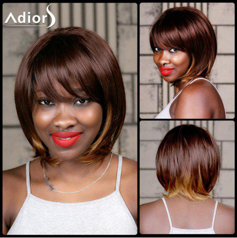 Store Adiors Medium Straight Oblique Bang Highlight Synthetic Wig COLORMIX