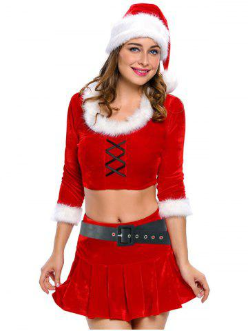 Affordable Christmas Faux Fur Crop Top and Short Skirt and Hat Sets
