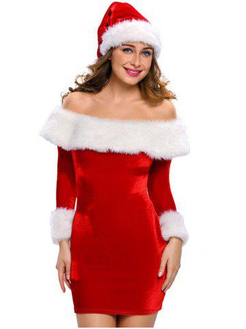 Cheap Christmas Faux Fur Fitted Velvet Short Party Dress With Hat