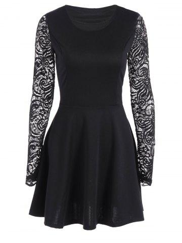 Discount Lace Sleeve Flare Dress