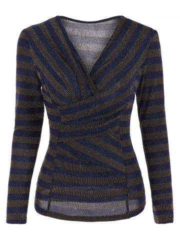 Stripe Sequined Faux Wrap Long Sleeve Blouse - Deep Blue - L