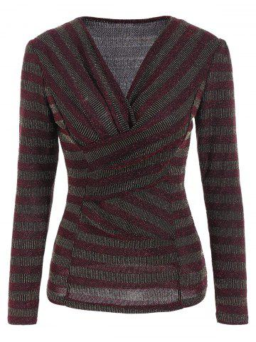 Stripe Sequined Faux Wrap Long Sleeve Blouse - Wine Red - M