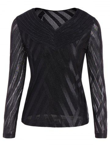 Mesh Long Sleeve Blouse - Black - 3xl