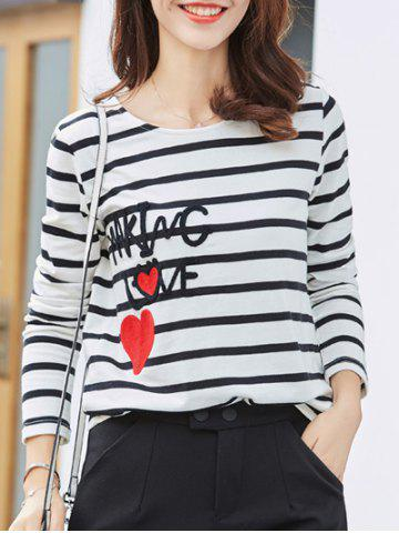 Shops Graphic Patched Striped T-Shirt