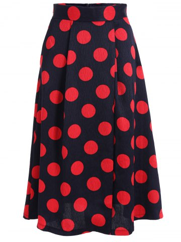 Outfit High Waist Polka Dot A Line Skirt