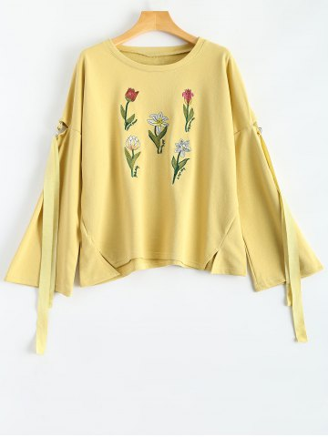 Latest Round Neck Floral Embroidered Side Slit Sweatshirt