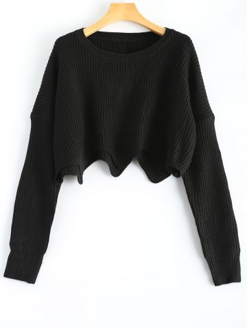 Store Round Neck Scalloped Pullover Sweater