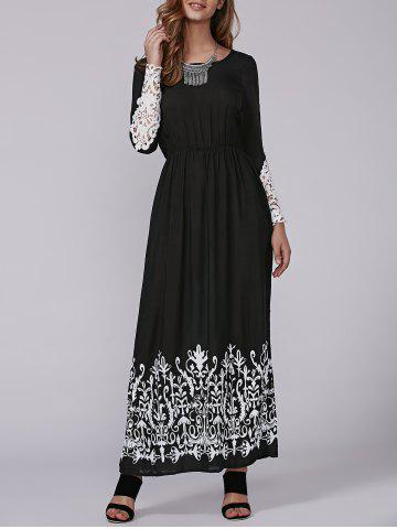 Online Autumn Openwork Lace Arab Print Maxi Dress