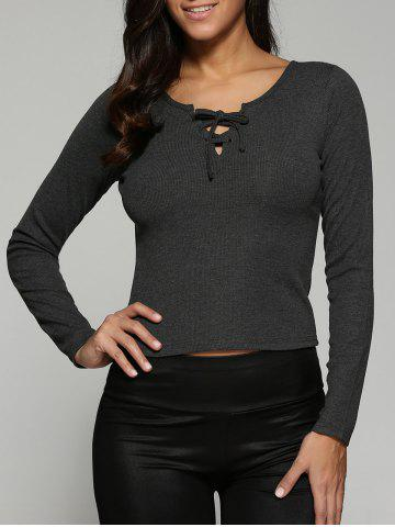 Lace-Up Knit Fitted Long Sleeve Crop T-Shirt - Deep Gray - M