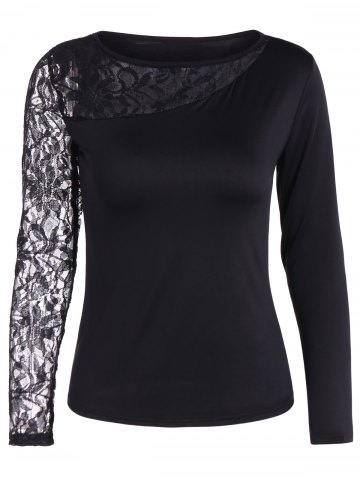 Sale Autumn One Openwork Lace Sleeve T-Shirt