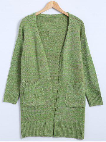 Hot Drop Shoulder Long Cardigan with Pockets GREEN ONE SIZE