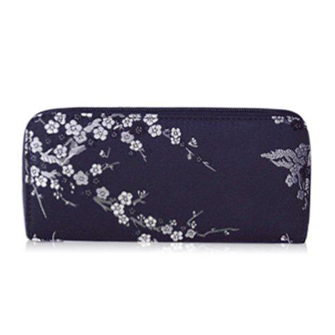 Hot Plum Blossom Embroidery Zip Around Wallet - BLACK  Mobile