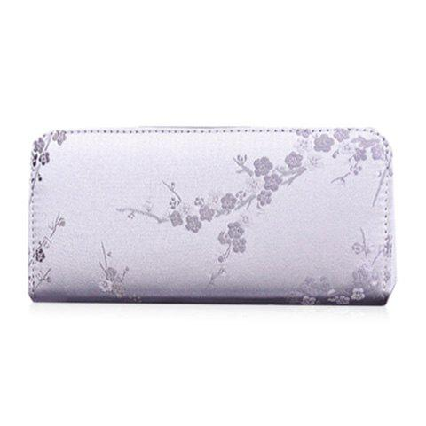 Shops Plum Blossom Embroidery Zip Around Wallet - LIGHT GRAY  Mobile