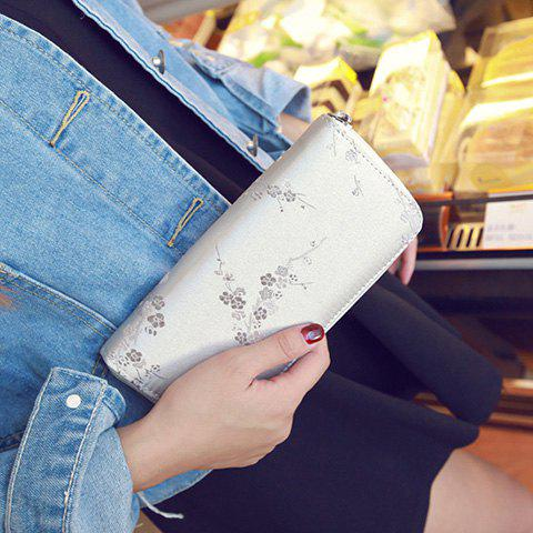 Outfits Plum Blossom Embroidery Zip Around Wallet - LIGHT GRAY  Mobile