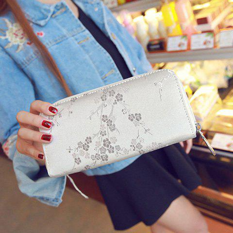 New Plum Blossom Embroidery Zip Around Wallet - LIGHT GRAY  Mobile