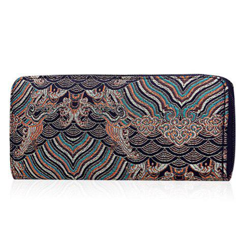 Couleur Splicing Broderie Striped Motif Wallet