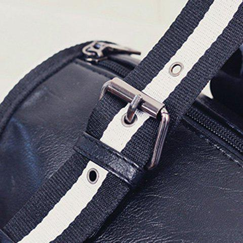 Trendy Striped Pattern Two-Tone Buckles Tote Bag - WHITE AND BLACK  Mobile