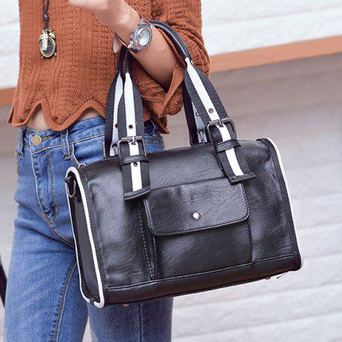 Hot Striped Pattern Two-Tone Buckles Tote Bag - WHITE AND BLACK  Mobile