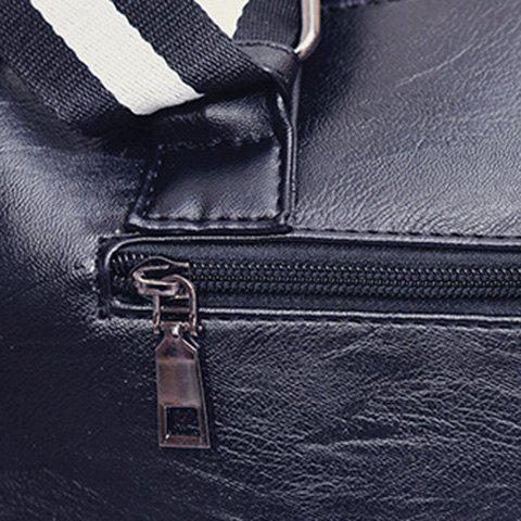 Unique Striped Pattern Two-Tone Buckles Tote Bag - WHITE AND BLACK  Mobile