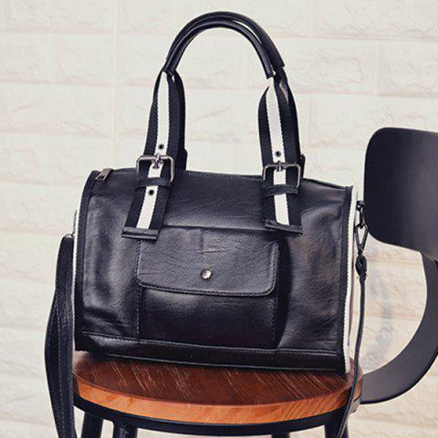 Latest Striped Pattern Two-Tone Buckles Tote Bag - WHITE AND BLACK  Mobile