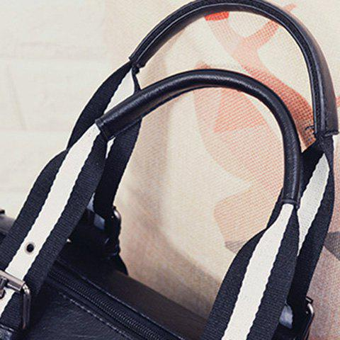 New Striped Pattern Two-Tone Buckles Tote Bag - WHITE AND BLACK  Mobile