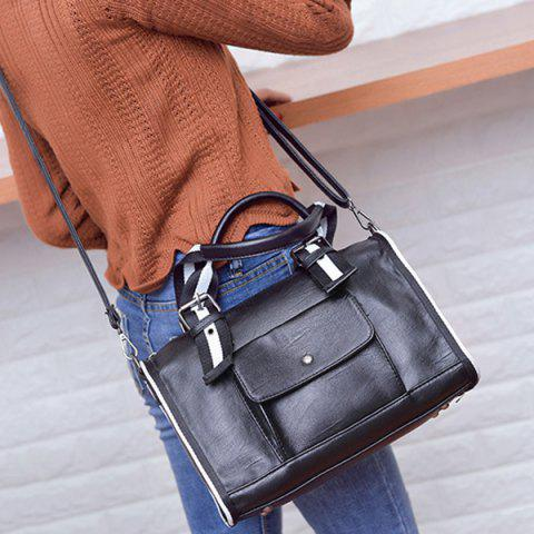Fashion Striped Pattern Two-Tone Buckles Tote Bag - WHITE AND BLACK  Mobile