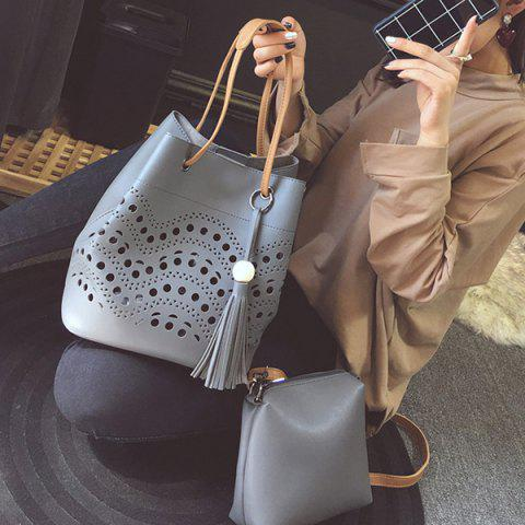 Fashion Color Spliced Hollow Out Tassels Tote Bag - GRAY  Mobile