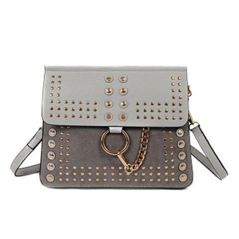 Affordable Covered Closure Dome Stud Metal Ring Crossbody Bag GRAY