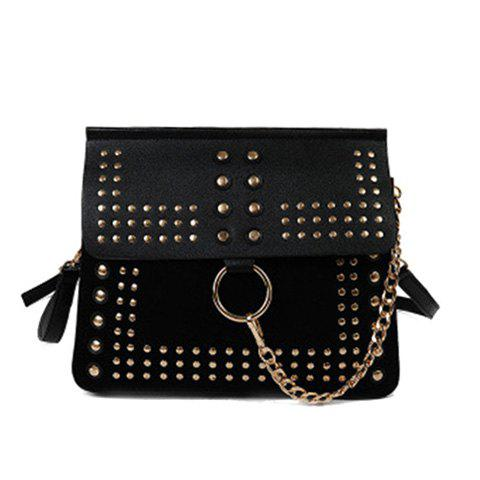Fancy Covered Closure Dome Stud Metal Ring Crossbody Bag