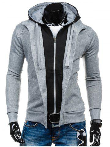 New Color Block Spliced Zip-Up Hoodie LIGHT GRAY 2XL