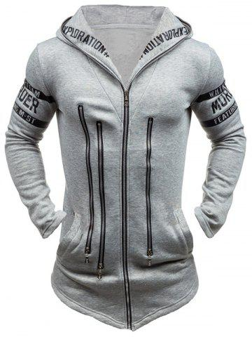 Outfit Zipper Embellished Letter Print Hoodie