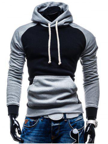 Kangaroo Pocket Color Block Pullover Hoodie - Black - L