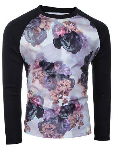Fashion Crew Neck Spliced Sleeve Floral Print T-Shirt COLORMIX L