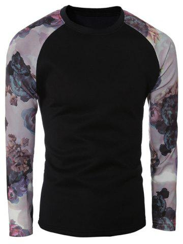 Outfit Floral Print Spliced Sleeve Crew Neck T-Shirt BLACK 2XL