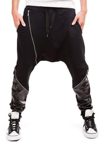 Discount Zipper Embellished PU Spliced Harem Pants - L BLACK Mobile