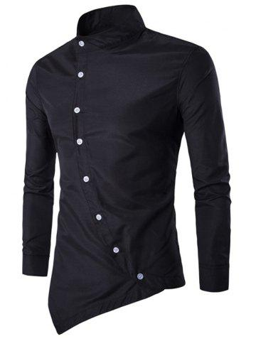 New Stand Chinese Collar Button Up Asymmetric Shirt - L BLACK Mobile