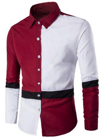 Discount Color Block Button Up Long Sleeve Shirt RED 2XL