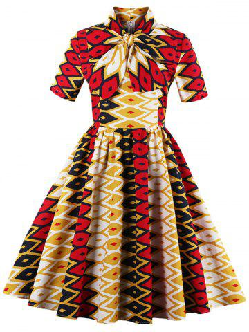 Bowknot Geometric Print Vintage Dress - Yellow And Red - M