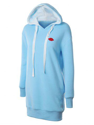 Outfits Lip Embroidered Fleece Drawstring Hoodie LIGHT BLUE 2XL