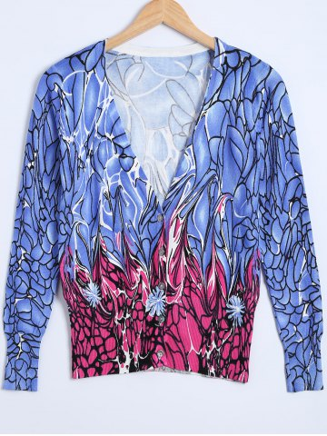 Chic Floral Print Knitted Cardigan