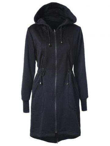 Chic Drawstring Back Zipped Hooded Coat