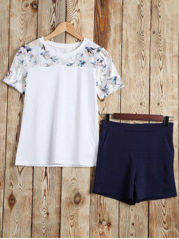 Fashion Bird Grid T-Shirt and Textured Shorts