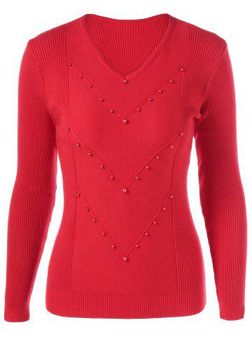 Outfits V Neck Ribbed Beaded Knitwear