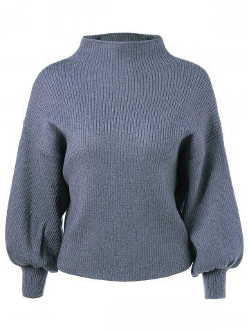 Shops High Collar Lantern Sleeve Ribbed Sweater