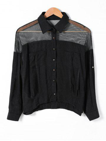 Best Pocket Design Mesh Insert Openwork Shirt