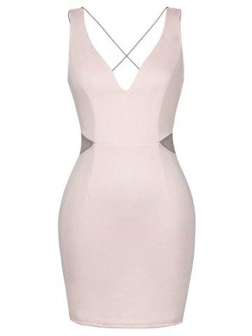 Affordable Backless Lace-Up Plung Tight Dresses NUDE PINK M